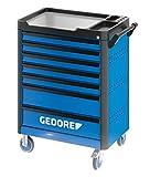 GEDORE WHL-L7 workster highline Werkzeugwagen unbestückt, blau – Rollbarer Werkstattwagen mit 7...