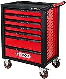 KS Tools 826.7215 RACINGline SCHWARZ/ROT Werkstattwagen mit 7 Schubladen und 215 Premium-Werkzeugen