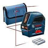 Bosch Professional Kreuzlinienlaser GLL 2-10 (roter Laser, Max. Reichweite: 10 m, 3x AA Batterien,...
