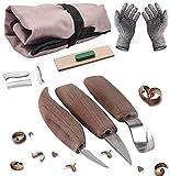 Holz-Schnitzwerkzeug Set für Anfänger und Profis,mit Schnittschutzhandschuhe- Extra Starker Level...